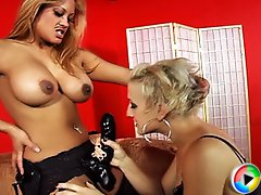 Maxine fucks her friend in all her holes with the help of a strap-on