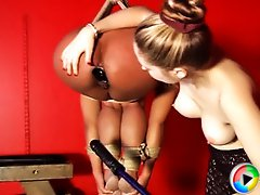 Maxine then gets heavily bound and suspended off the dungeon floor while experiencing more DP