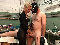 Lady Natalie loves to play with electrics and pushes her two slaves to the limit.