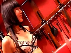Skinny asian mistress penetrates male slave`s anal hole with a stiletto heel then sits on his face