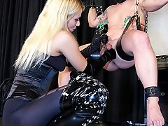 Natalie clamps and stretches her victim