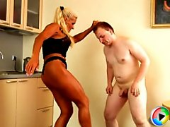 Mature mistress puts her slave through sheer hell of CBT bruising his balls